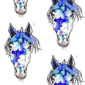 Watercolor splashed dark unicorn