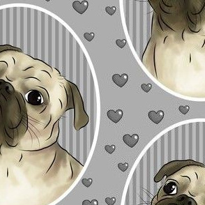 Love for pugs -grey big