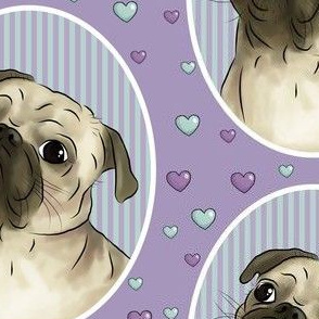 Love for pugs -purple big