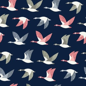 Colorful Flying Geese / Dark Blue