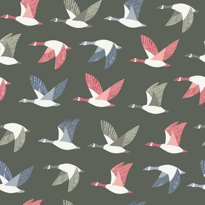 Colorful Flying Geese / Gray-Green