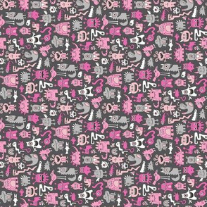 Monsters in Pink on Dark Grey Tiny Small Rotated