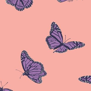 Purple Monarch Butterflies on Pink
