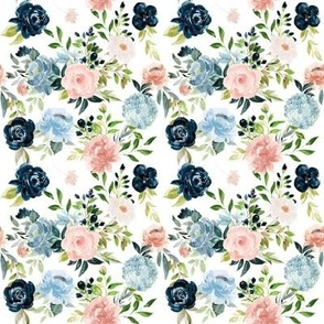 "4"" Blush and Indigo Whimsy Florals // White"