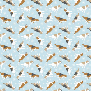 Tiny Beagles - winter snowflakes