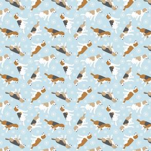 Tiny Beagles - winter snowflakes