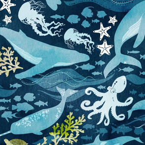 Ocean life in turquoise - extra large scale