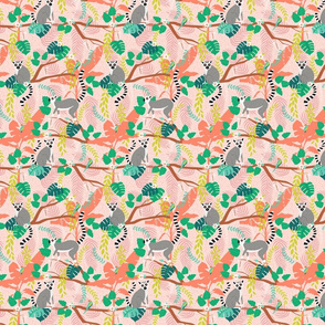 Ring-tailed Lemurs in a Pink Jungle - Small