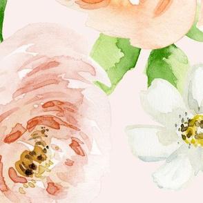 Evie Blooms Pastel Watercolors Pink BG