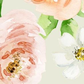 Evie Blooms Pastel Watercolors Green BG