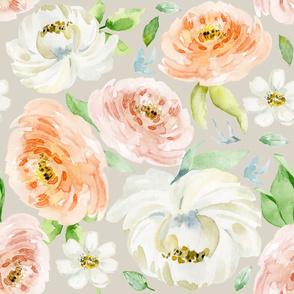 Evie Blooms Pastel Watercolors TAN BG