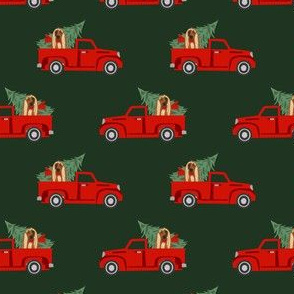 afghan hound christmas truck holiday fabric - dog christmas fabric, christmas dog, cute dog, afghan hound fabric - green