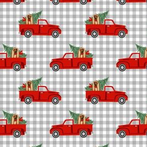 afghan hound christmas truck holiday fabric - dog christmas fabric, christmas dog, cute dog, afghan hound fabric - check