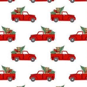 airedale terrier christmas truck holiday fabric - dog christmas fabric, christmas dog, cute dog, airedale fabric - white