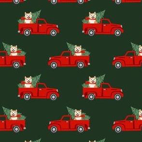 akita christmas truck holiday fabric - dog christmas fabric, christmas dog, cute dog, akita dog fabric - green