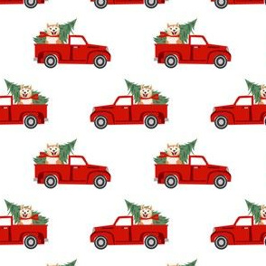 akita christmas truck holiday fabric - dog christmas fabric, christmas dog, cute dog, akita dog fabric - white