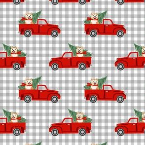 akita christmas truck holiday fabric - dog christmas fabric, christmas dog, cute dog, akita dog fabric - check