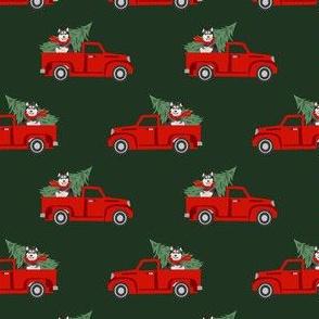 alaskan malamute christmas truck holiday fabric - dog christmas fabric, christmas dog, cute dog, malamute dog fabric - green