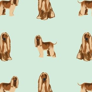 afghan hound dog fabric - afghan hound, dog fabric, afghan dog, afghan hound dog - mint