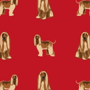 afghan hound dog fabric - afghan hound, dog fabric, afghan dog, afghan hound dog - red