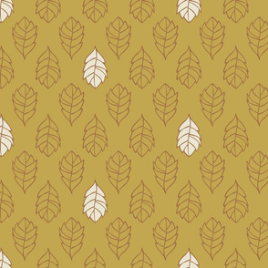 Layered Leaves Scattered - Medium - Mustard