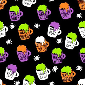 Witches coffee - halloween coffee, basic witch, cute fabric,  halloween fabric, holiday fabric, seasonal fabric - black