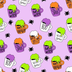 Witches coffee - halloween coffee, basic witch, cute fabric,  halloween fabric, holiday fabric, seasonal fabric - lavender