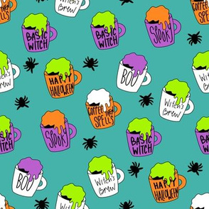 Witches coffee - halloween coffee, basic witch, cute fabric,  halloween fabric, holiday fabric, seasonal fabric - teal