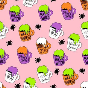 Witches coffee - halloween coffee, basic witch, cute fabric,  halloween fabric, holiday fabric, seasonal fabric - pink