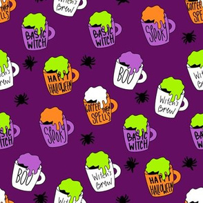 Witches coffee - halloween coffee, basic witch, cute fabric,  halloween fabric, holiday fabric, seasonal fabric -dark purple