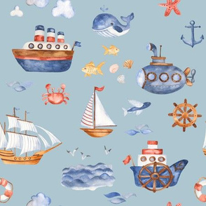 Ships Ahoy // Jungle Mist Blue