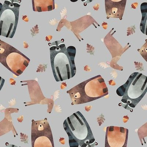 Woodland Critters Tossed - Bear Raccoon + Moose