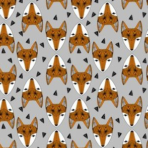 SMALL - Fox Head fabric -geometric fox head fabric, grey and rust fabric, baby boy fabric, baby boy - by andrea lauren