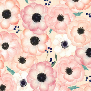 Large Floral - Watercolor Blush, Pink & Peach Anemone Blossoms (apricot linen)