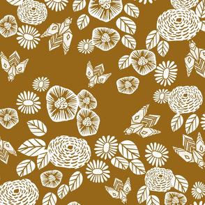 bee garden - spring flowers florals mustard yellow vintage style flowers 5
