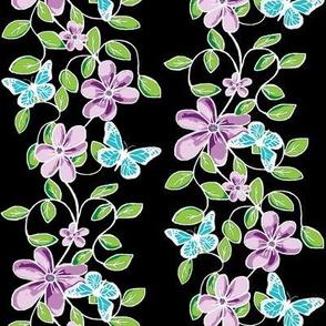 Flowers & Flutters / Vines & Butterflies   -on Black / White Lines
