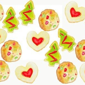 Watercolor Cookie Christmas on White