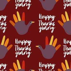 happy thanksgiving - funny hand, thanksgiving, kids thanksgiving craft, art teacher, school, kids - deep red