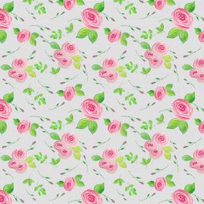Whimsical Tossed Roses on Dot Background