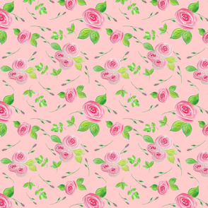 Whimsical Tossed Roses on Pink Background