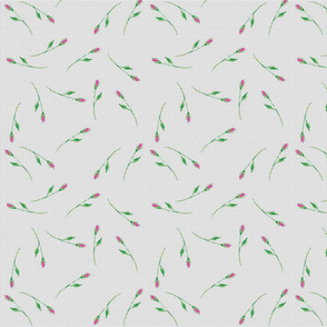 Whimsical Tossed Rose Buds on Dot Background