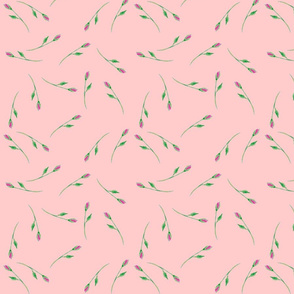 Whimsical Tossed Rose Buds on Pink Background matches perfectly with this fabric.