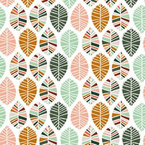 Coral, Mint, Pine and Ochre Leaves by Angel Gerardo - Small Scale