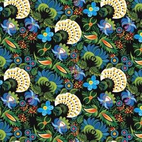 Vintage Floral Garden Pattern on Black