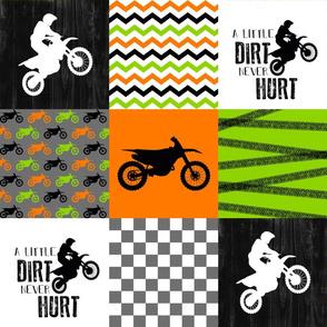 Motocross//Crazy Kid//A little Dirt Never Hurt//Lime&Orange - Wholecloth Cheater Quilt