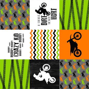 Motocross//Crazy Kid//A little Dirt Never Hurt//Lime&Orange - Wholecloth Cheater Quilt - Rotated
