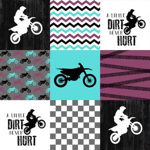 Motocross//Moto Grandma//A little Dirt Never Hurt//Purple&Aqua - Wholecloth Cheater Quilt