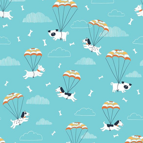 Parachuting dogs in blue