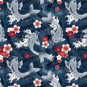 Koi and sakura blossom in blue