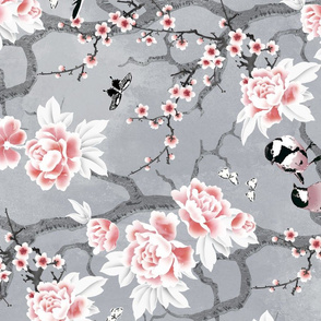 Chinoiserie birds in grey rotated